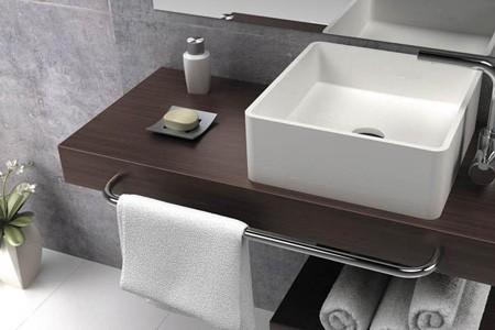 modern bathroom sink and towel rail